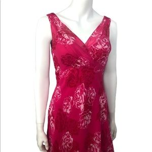 Ann Taylor Red 100% Silk Red Dress